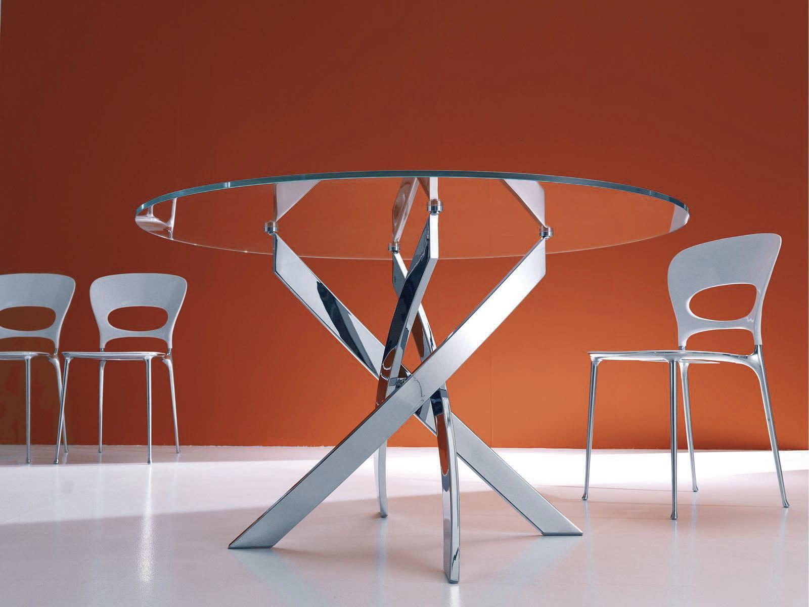 Tavoli Da Pranzo Rotondi In Vetro.Tavolo Da Pranzo Moderno Barone Bontempi Casa In Vetro Tondo