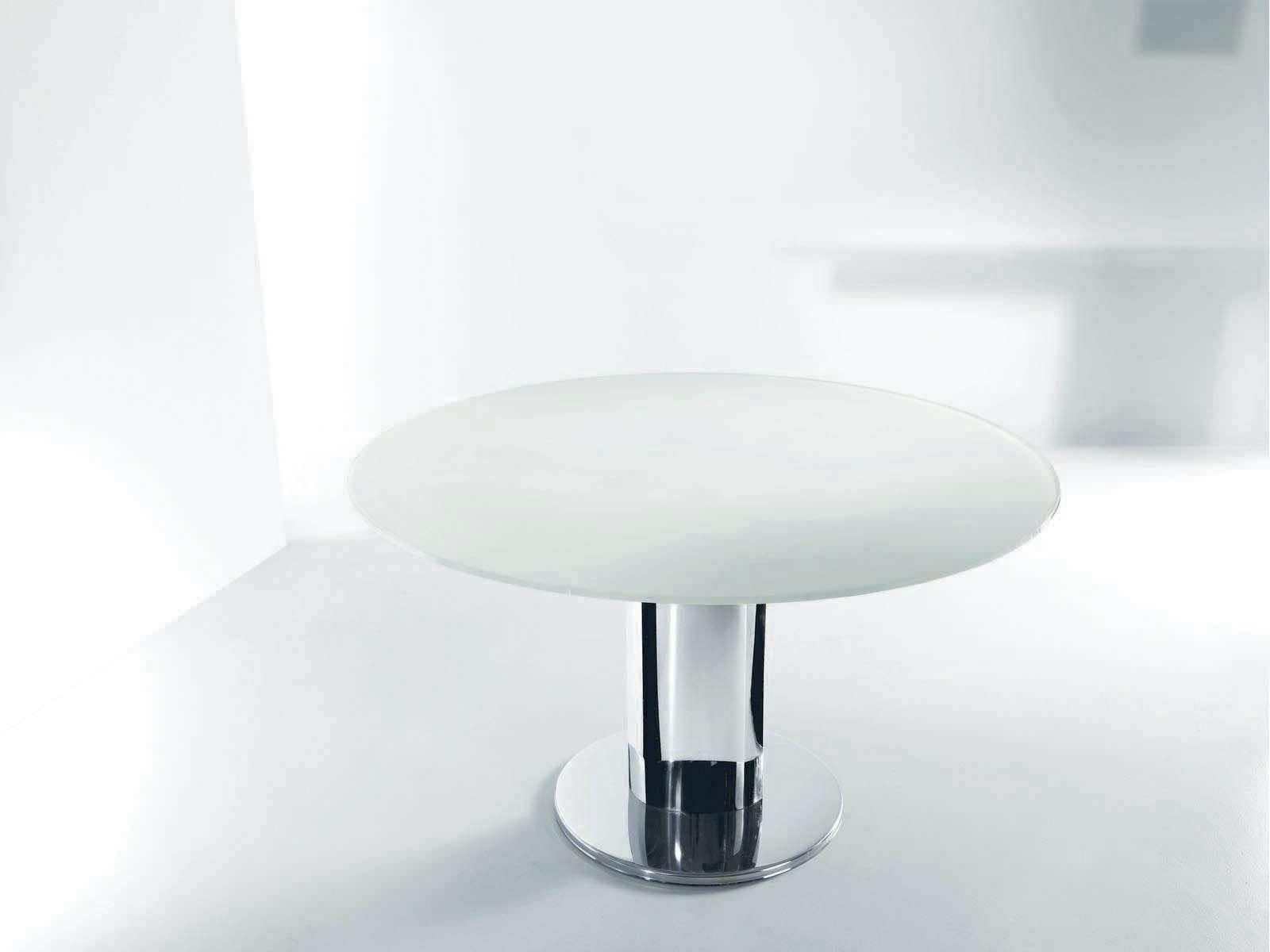 tavolo moderno / in vetro / tondo / allungabile