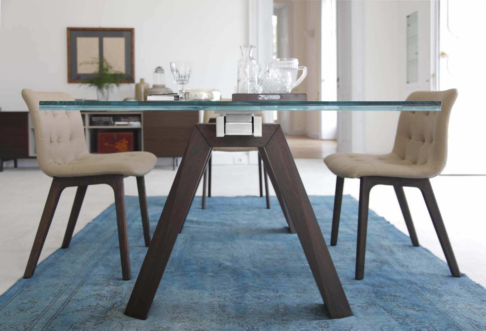 Tavolo Bontempi Cristallo Allungabile.Tavolo Moderno In Vetro In Marmo Con Supporto In Legno