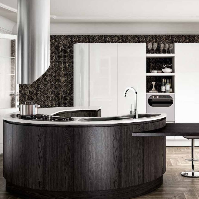 Cucina moderna / in legno / con isola / tonda - B50 - BERLONI