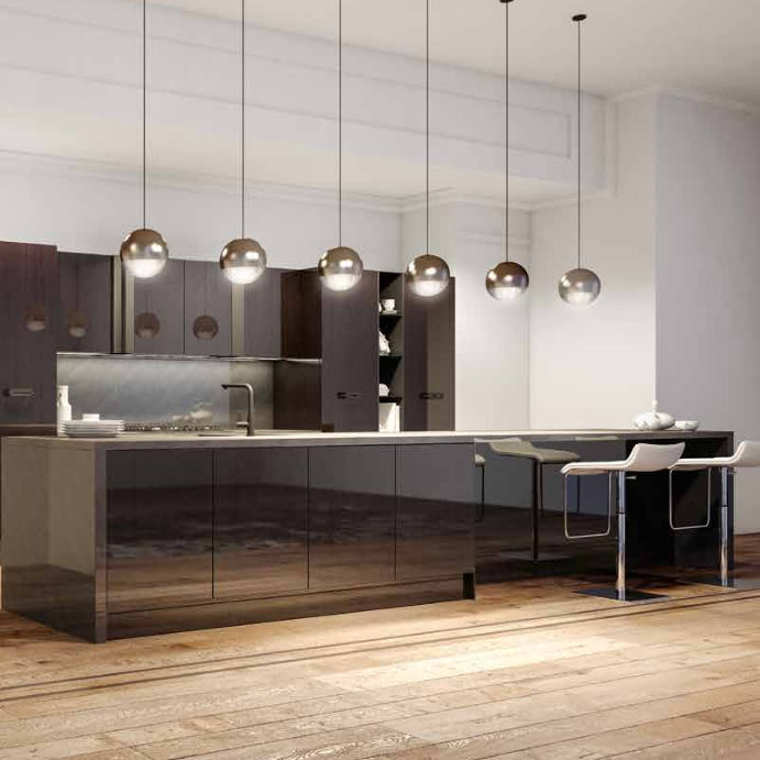 Cucina moderna / in acciaio inox / impiallacciata in legno ...
