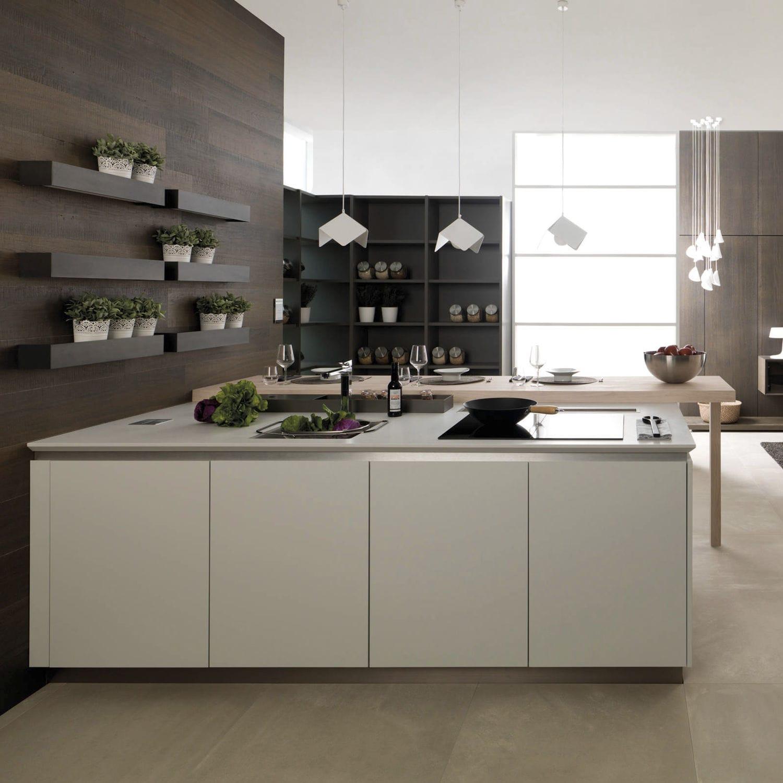 Cucina moderna / in laminato / con isola / senza maniglie - R1.70 ...