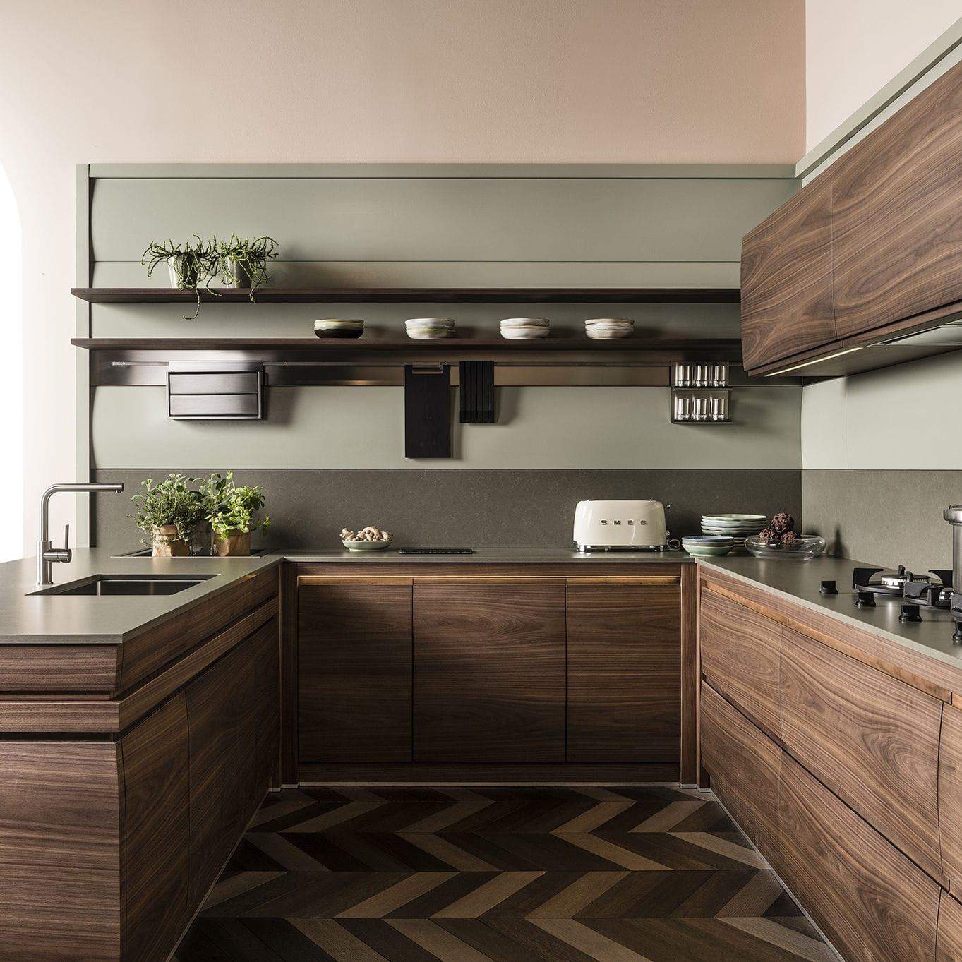 Cucina Noce Moderna.Cucina Moderna In Legno Massiccio In Legno Laccato In