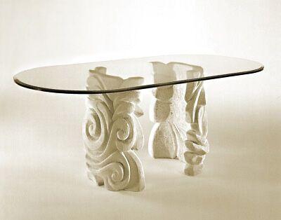 Tavoli In Pietra E Cristallo.Tavolo Moderno In Pietra Con Supporto In Pietra Ovale