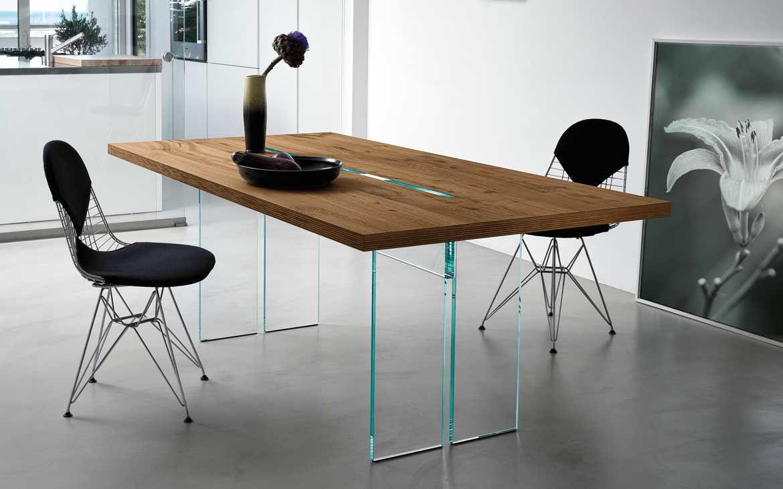 Tavoli In Cristallo Fiam Prezzi.Tavolo Moderno In Noce In Vetro Con Supporto In Vetro Llt