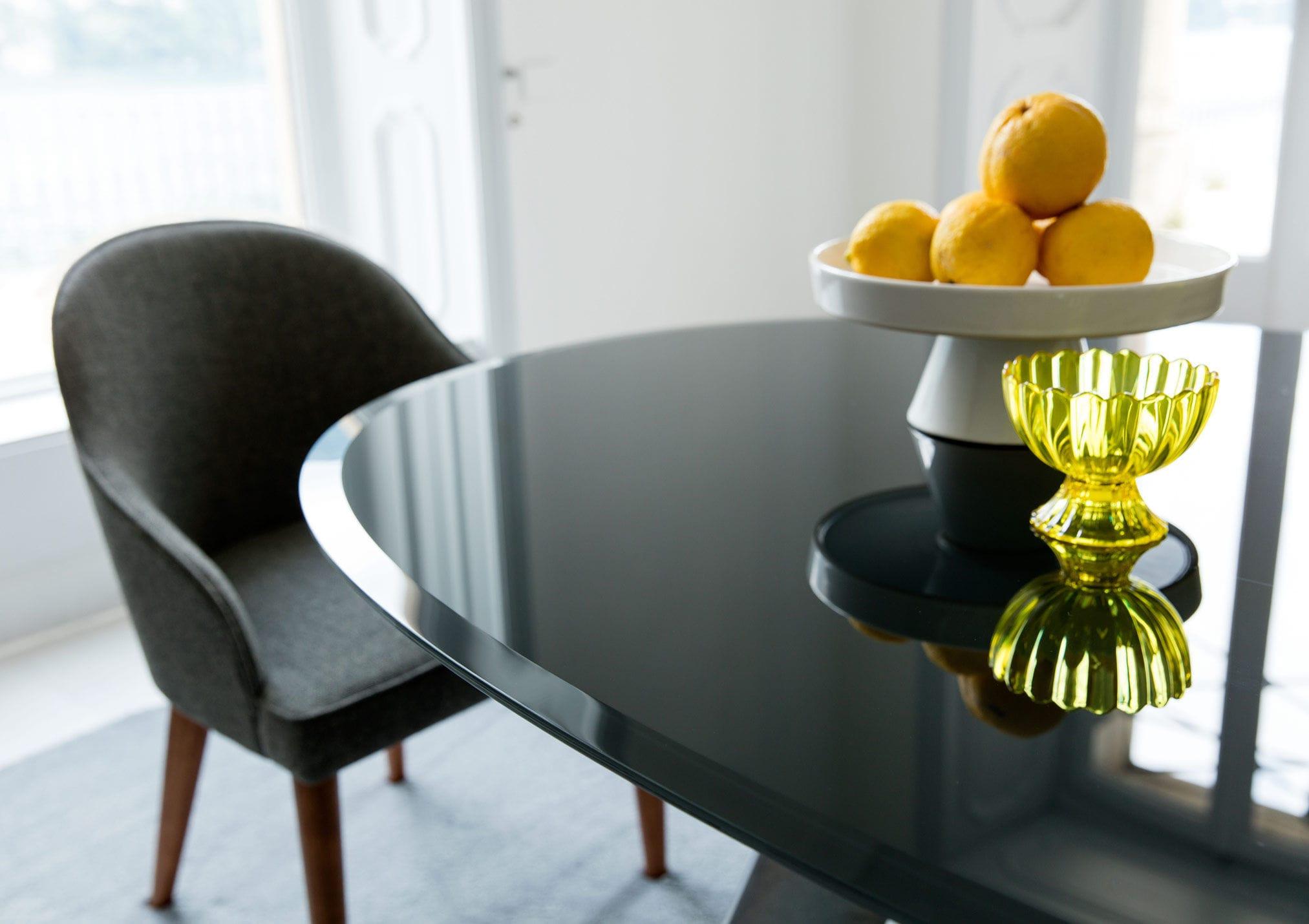 Tavolo da pranzo moderno / in teak / in cristallo / ovale ...