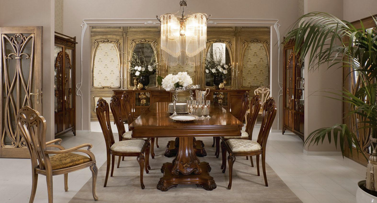 Tavoli Da Pranzo In Stile.Tavolo Da Pranzo In Stile In Legno Rettangolare Liberty Medea
