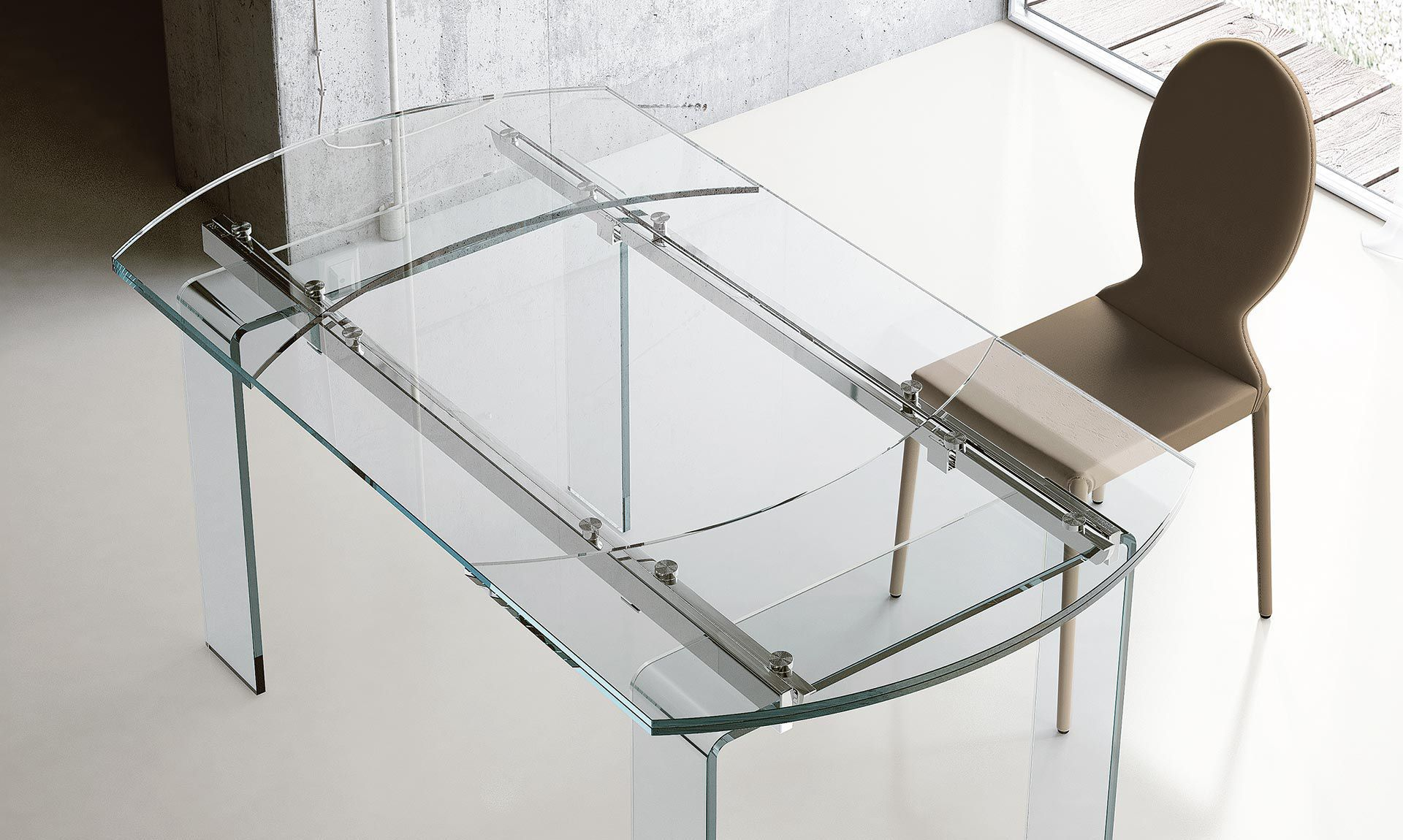 Tavoli Allungabili In Cristallo Prezzi.Tavolo Moderno Lord Riflessi In Alluminio Con Supporto In