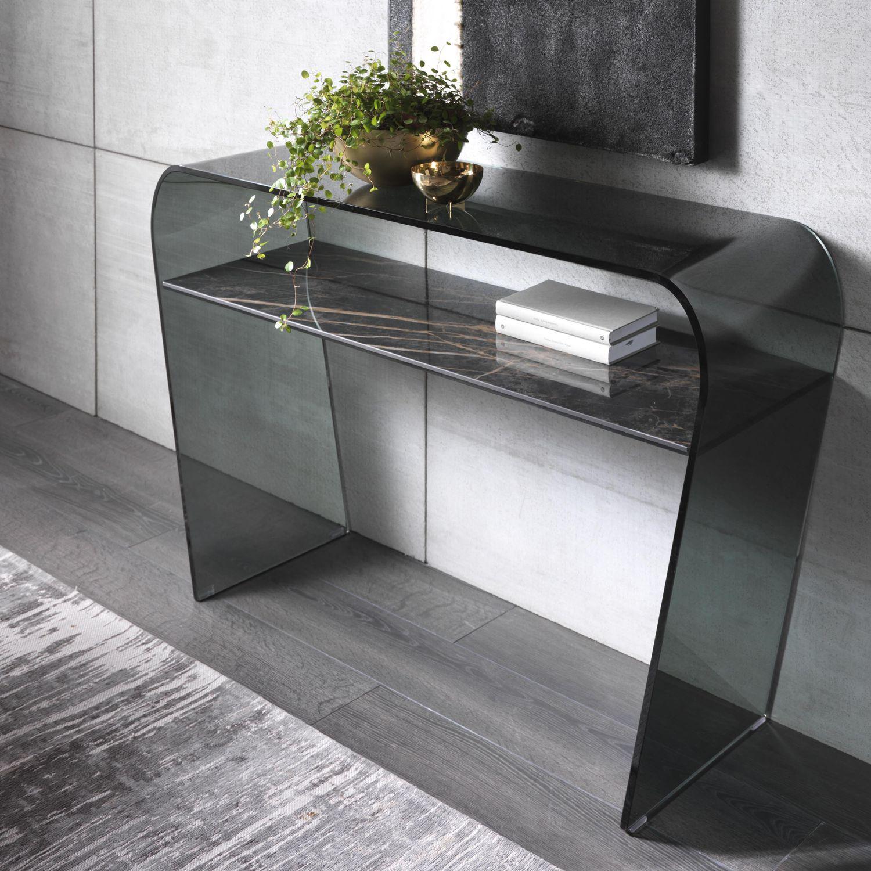 Consolle moderna / in vetro curvato / rettangolare / con ...