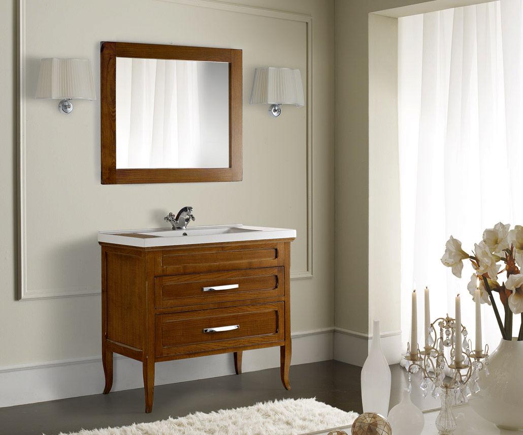 mobile lavabo in noce / classico / con specchio
