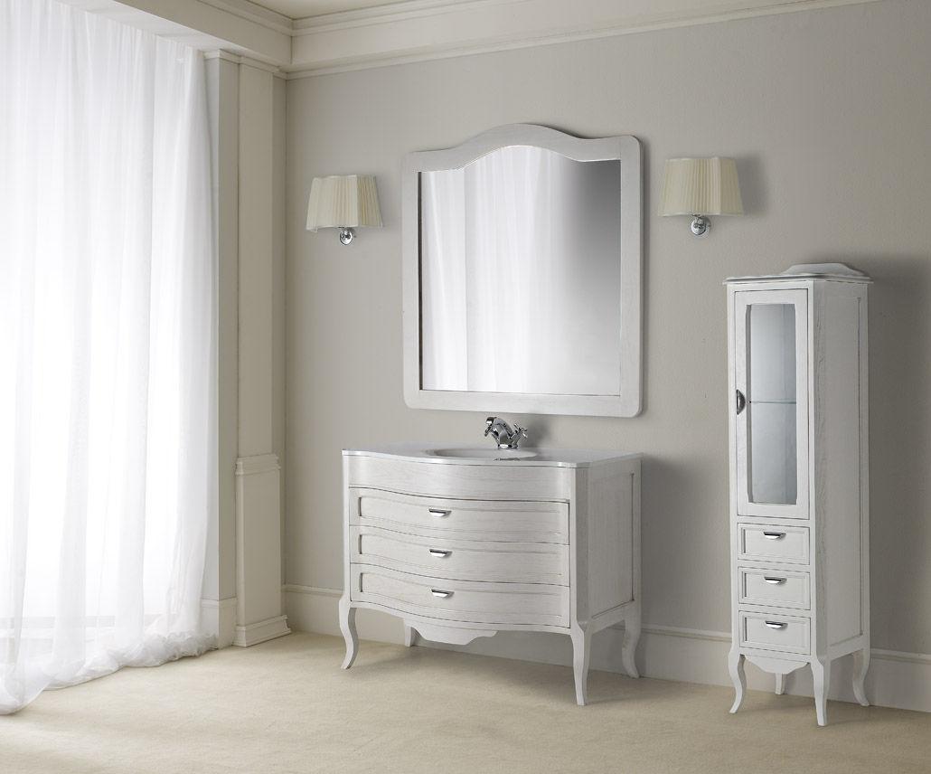 mobile lavabo in legno / classico / con specchio