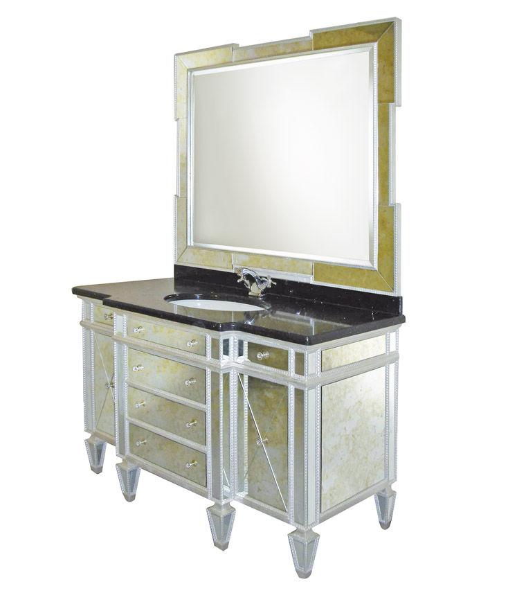 mobile lavabo in vetro / classico / con specchio