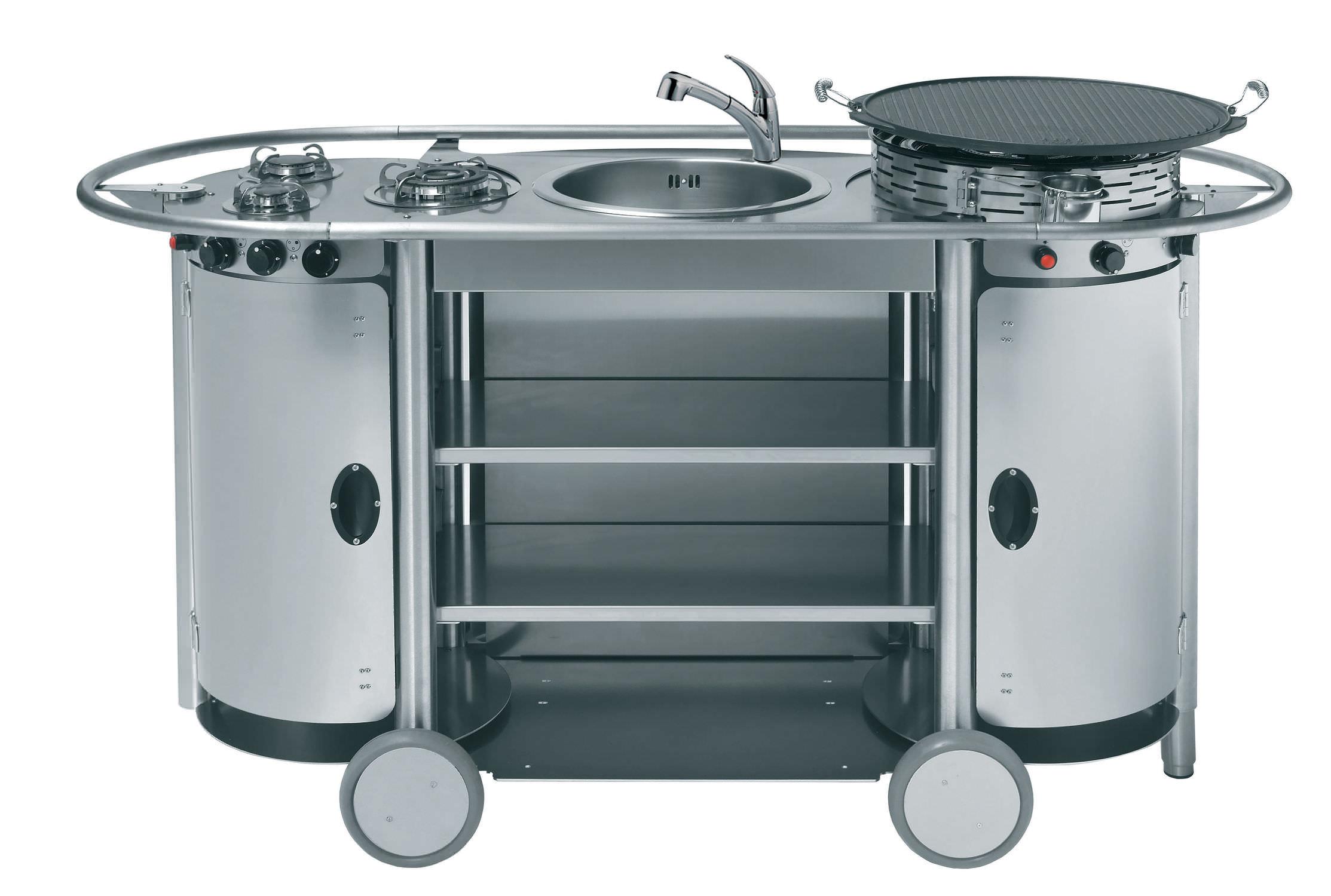 Cucina in acciaio inox / mobile / da esterno / con ...