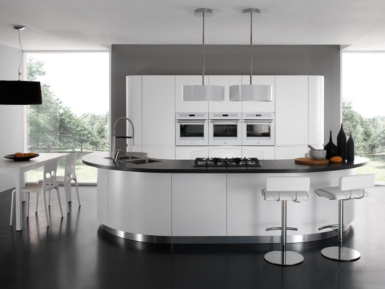 Cucine Moderne Con Isola Rotonda.Cucina Moderna In Laminato Tonda Laccata Seven