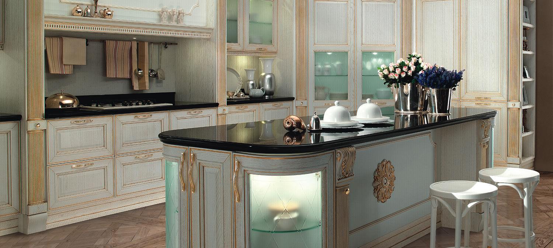 Cucina classica / in legno / con isola / laccata - FIRENZE ...
