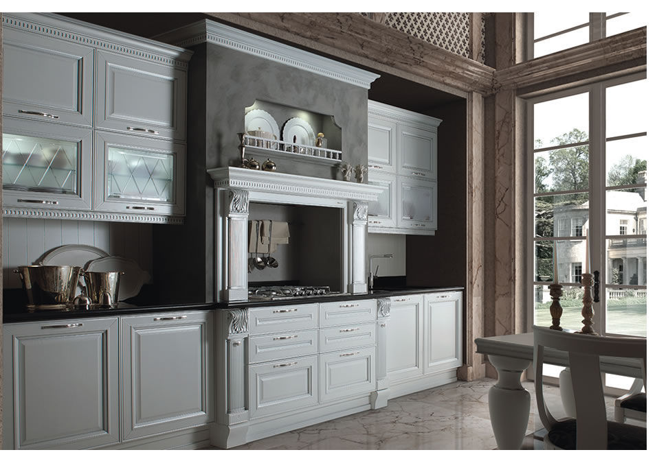 Cucina classica / in legno / a scomparsa / con impugnature ...