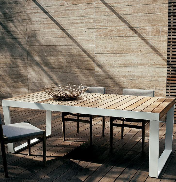 Roda Tavoli Da Giardino.Tavolo Da Pranzo Moderno In Teak In Acciaio Inossidabile Con