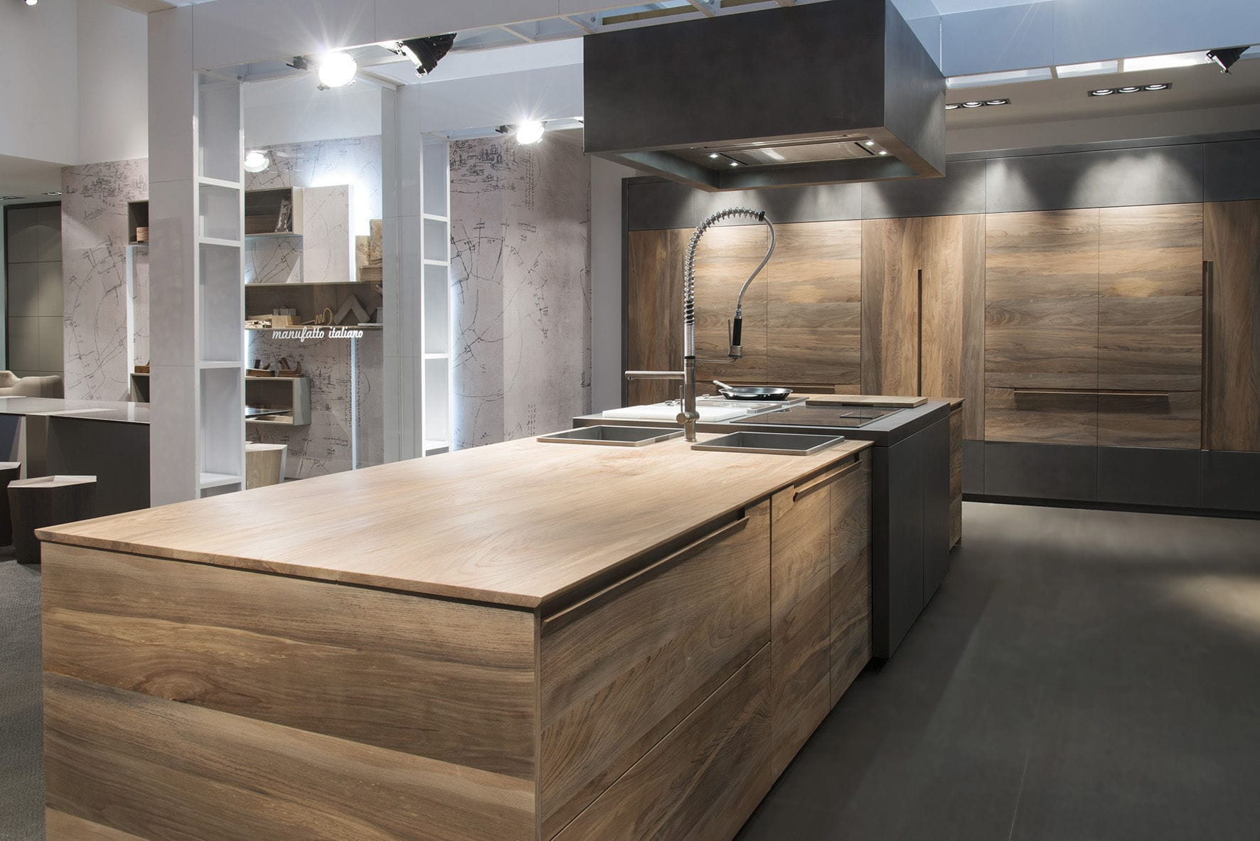 Cucina moderna / in faggio / in acciaio / con isola ...