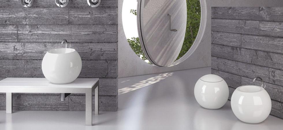 Disegno Ceramica Sfera Prezzi.Lavabo Da Appoggio Tondo In Ceramica Moderno Sfera