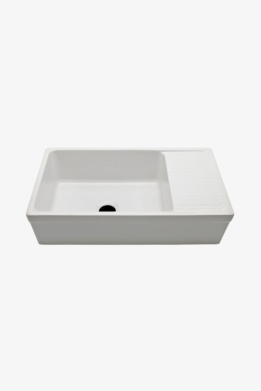 Lavello a 1 vasca / in ceramica / con gocciolatoio ...