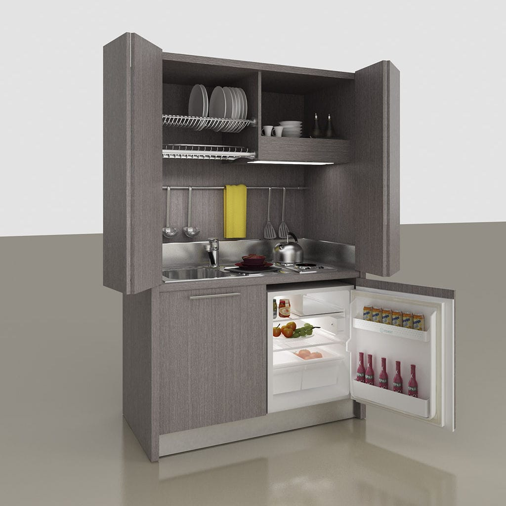 Cucine Con Ante Scorrevoli A Scomparsa.Mini Cucina Con Elettrodomestici Integrati K 143 Mobilspazio