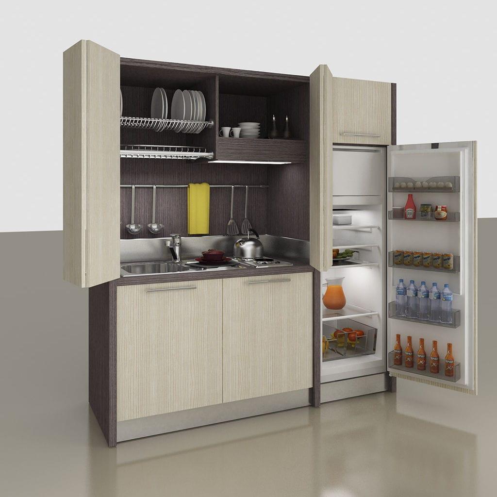 Mini cucina con elettrodomestici integrati / a scomparsa ...