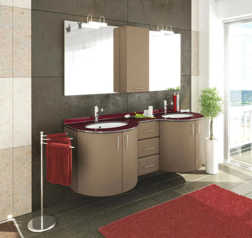 Mobile lavabo doppio / sospeso / in cristallo / moderno ...