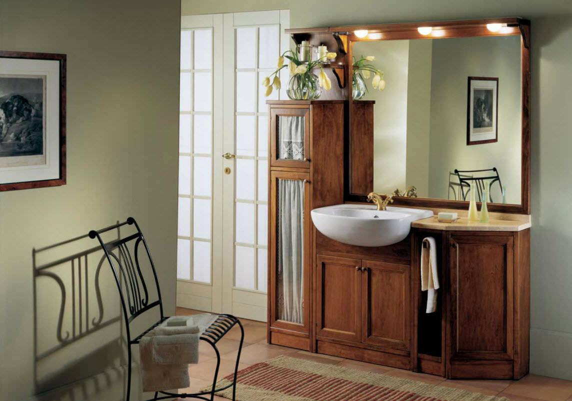 Mobile lavabo da appoggio / in marmo / in legno massiccio ...