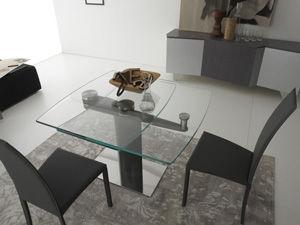 Tavolo moderno / in vetro / quadrato / allungabile - LIBERTY ...