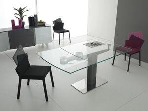 Tavolo Moderno Liberty Compar In Vetro Quadrato Allungabile