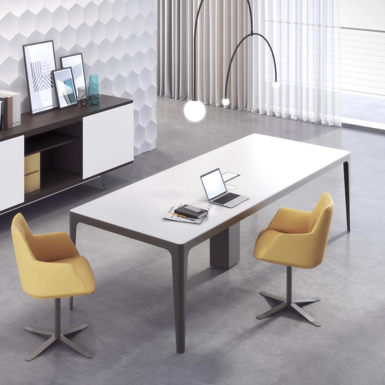 Tavolo da riunione moderno / in metallo / in vetro ...
