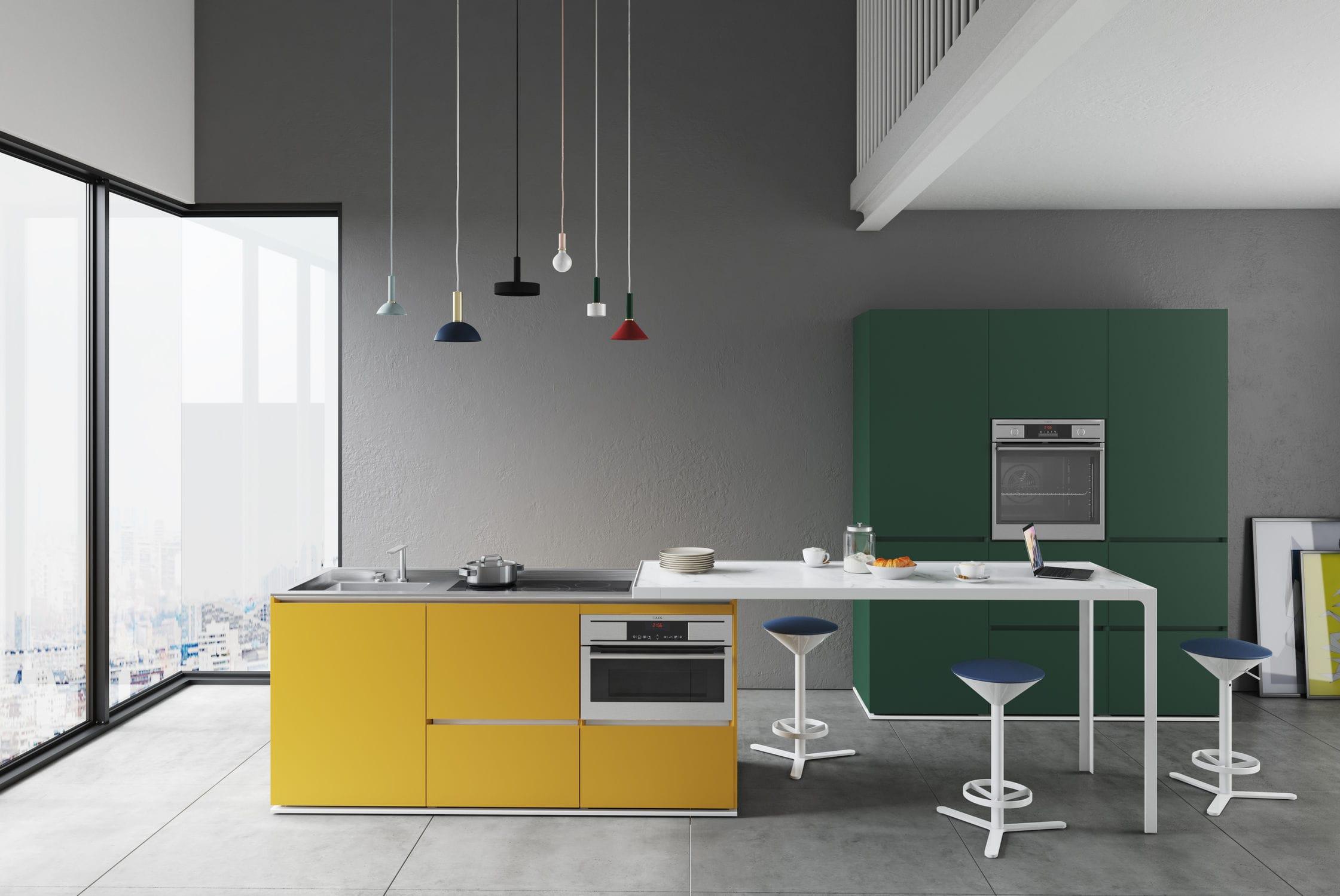 Bancone da cucina / in legno laccato / in metallo / dritto ...