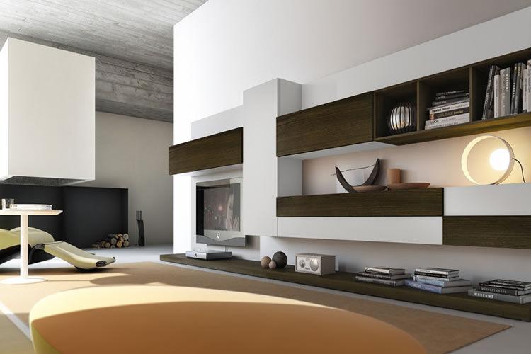 Pareti Soggiorno Moderne In Legno.Parete Attrezzata Tv Moderno In Legno Pro622626 Pescarollo