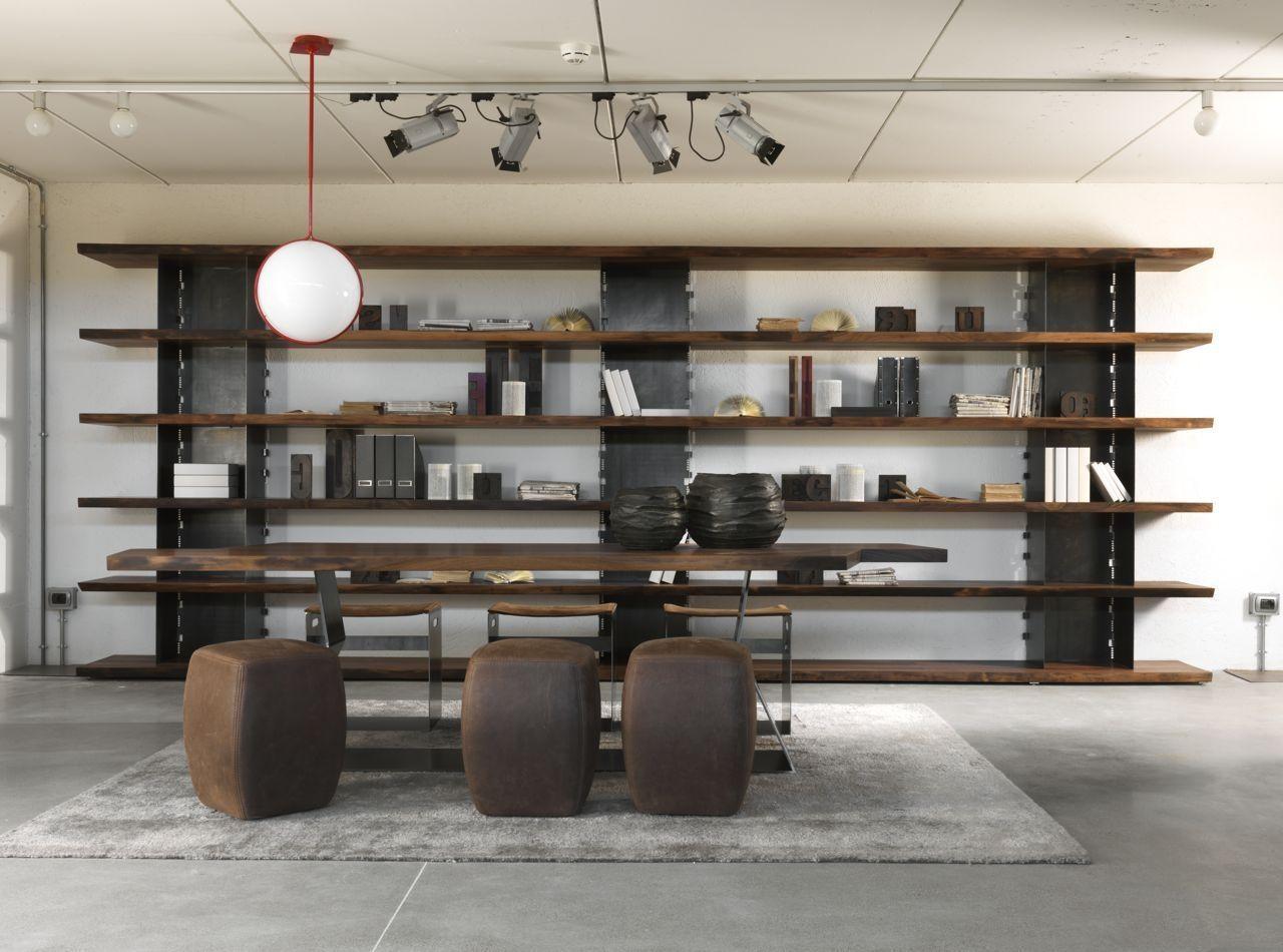 Mobili In Ferro Di Design.Scaffale Moderno In Legno Massiccio In Noce In Ferro