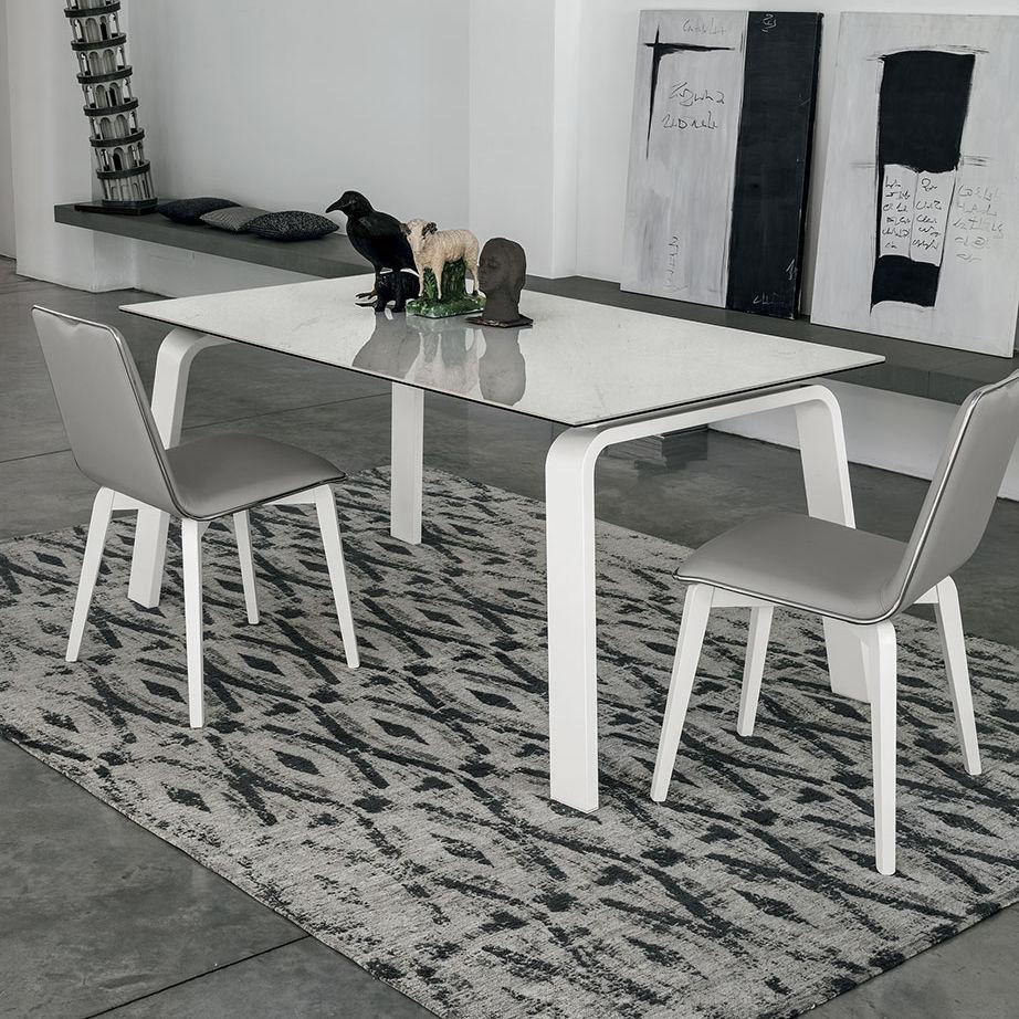 Tavolo da pranzo moderno / in MDF / in vetro temprato / in gres  porcellanato DEIMOS 160 Target Point New