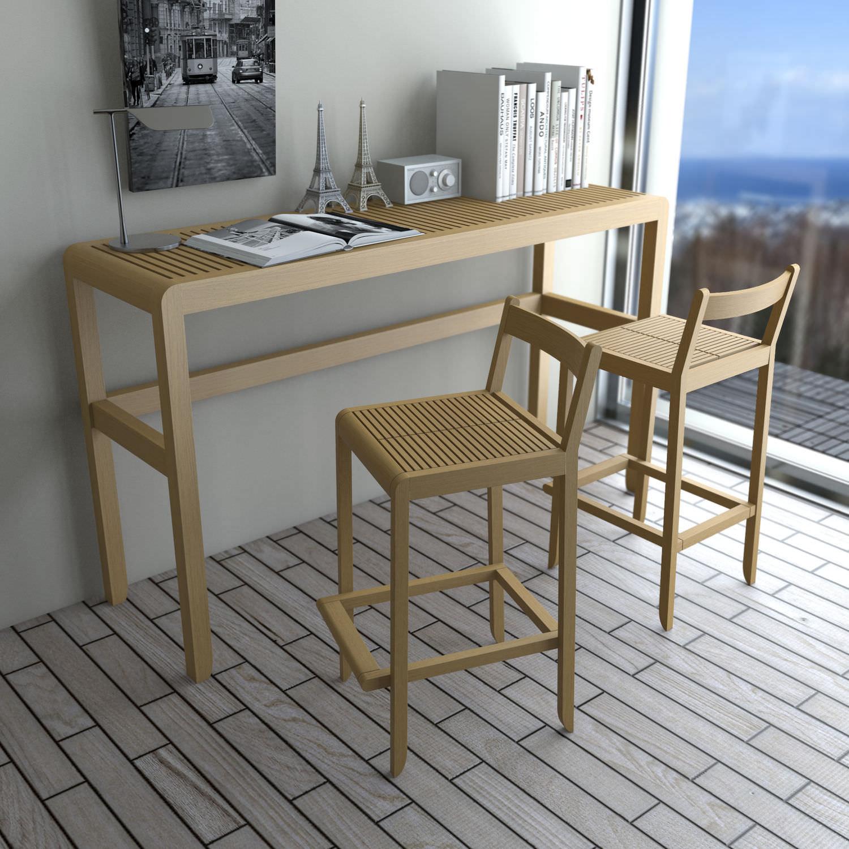 Tavolo Alto Rettangolare.Tavolo Alto Moderno In Legno Rettangolare Saki Set