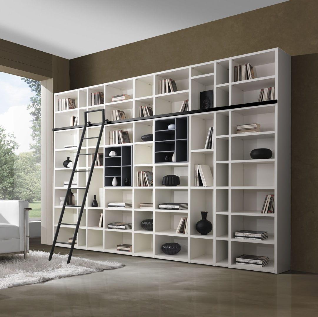 Libreria Moderna Laccata Bianca.Libreria Moderna In Legno Laccato G406 Giessegi
