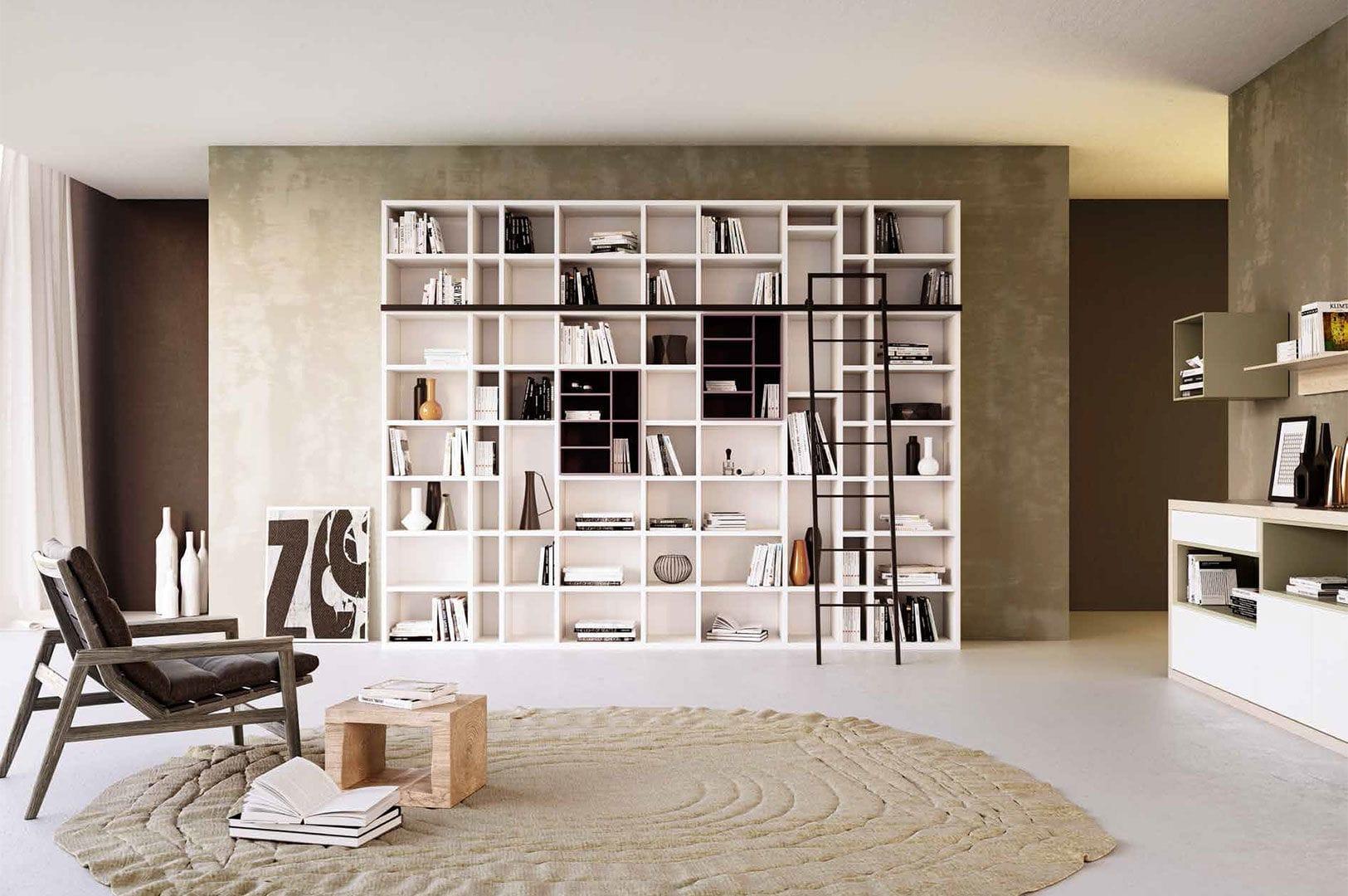 Libreria Moderna In Legno.Libreria Moderna In Legno Laccato G406 Giessegi