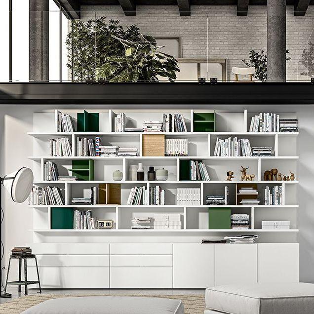 Libreria Moderna Laccata Bianca.Libreria Moderna In Legno Laccato Live 14 Morassutti