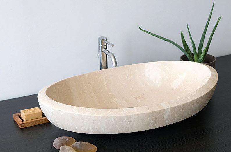 lavabo da appoggio / ovale / in pietra naturale / moderno
