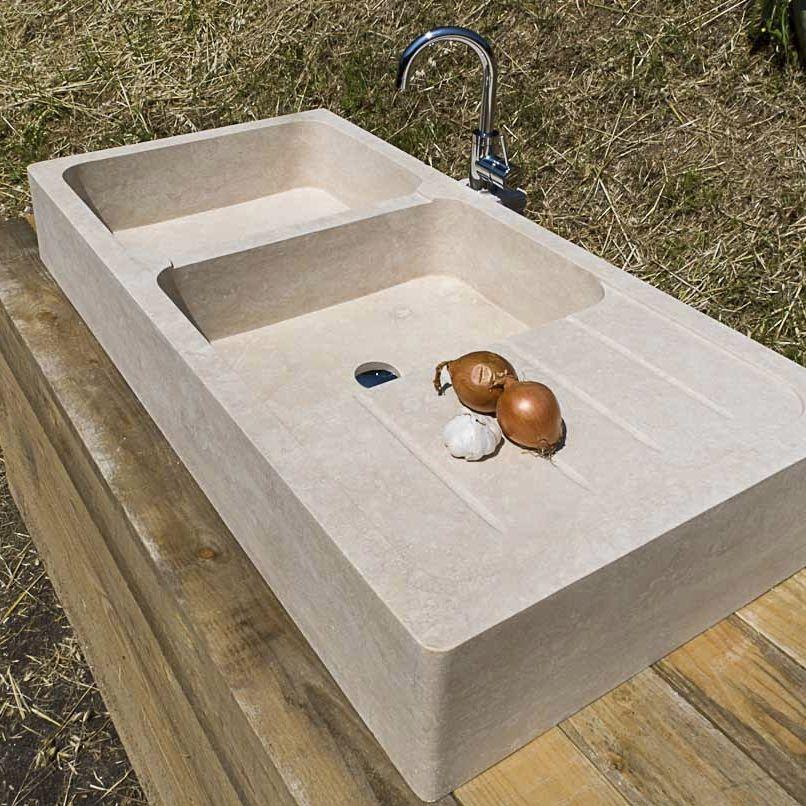 Lavello a 2 vasche / in pietra / con gocciolatoio - COUNTRY ...