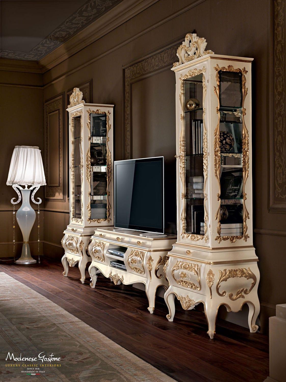 Porta Tv In Stile Classico.Mobile Porta Tv In Stile In Legno Laccato Villa Venezia
