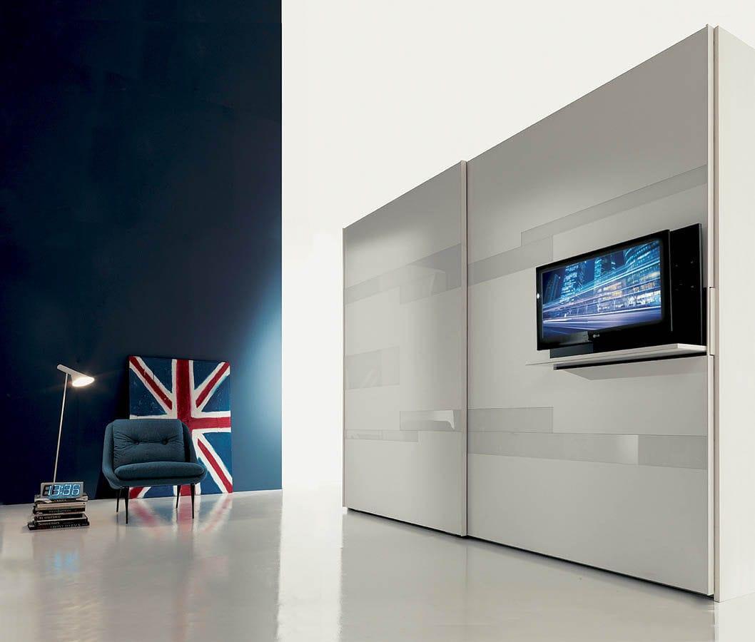 Porta Tv Estraibile Con Staffa Girevole.Supporto Per Tv Da Parete Moderno Girevole In Legno Laccato Ghost Fimar Srl
