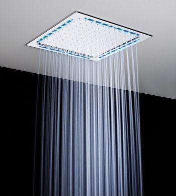 Doccia Con Soffione A Soffitto.Soffione Doccia Da Incasso A Soffitto Quadrato Con Illuminazione Incorporata