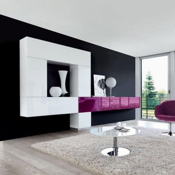 parete attrezzata per soggiorno moderna / in vetro / in alluminio