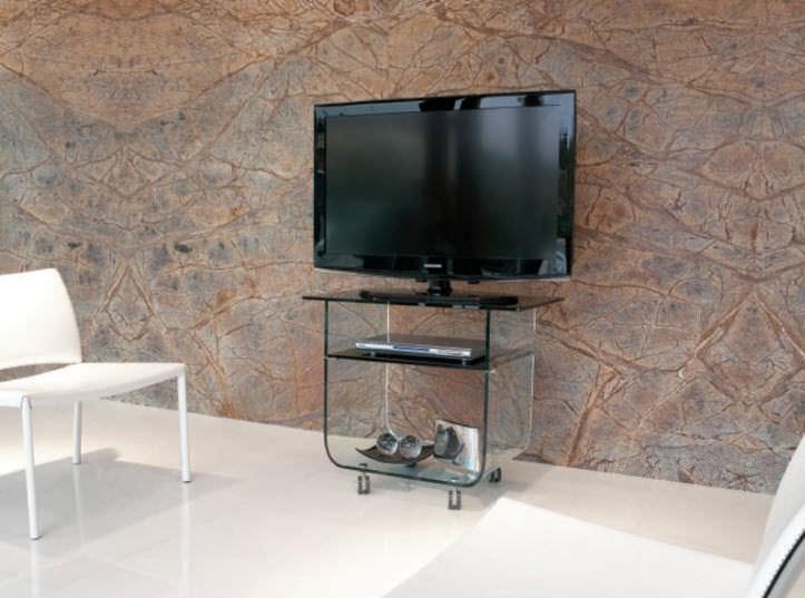 Porta Tv Lcd Vetro.Mobile Porta Tv Moderno Con Moderno Rotelle In Vetro Odeon