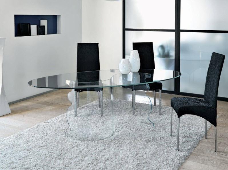 Tavolo da pranzo moderno / in vetro temprato / ovale ...