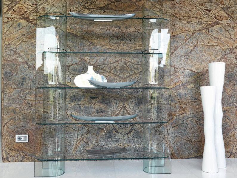 libreria moderna / con rivestimento in vetro temperato
