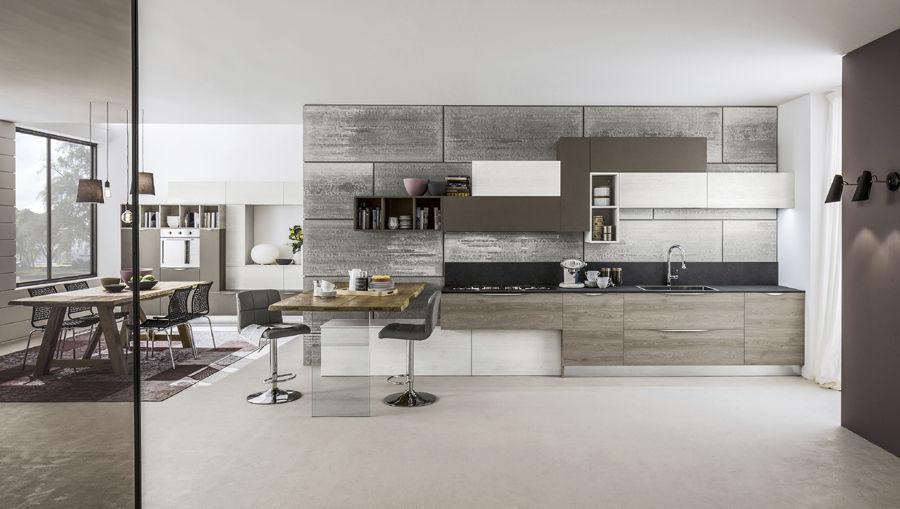 Cucina moderna / in legno / senza maniglie - ORIENTE - Arrex