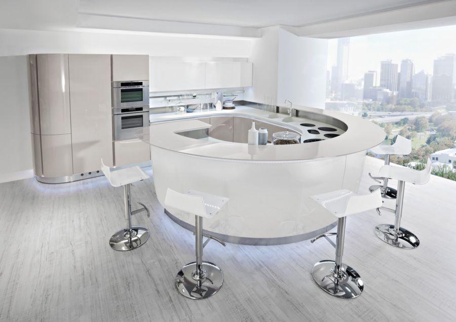 Cucine Moderne Con Isola Rotonda.Cucina Moderna In Laminato Tonda Laccata House